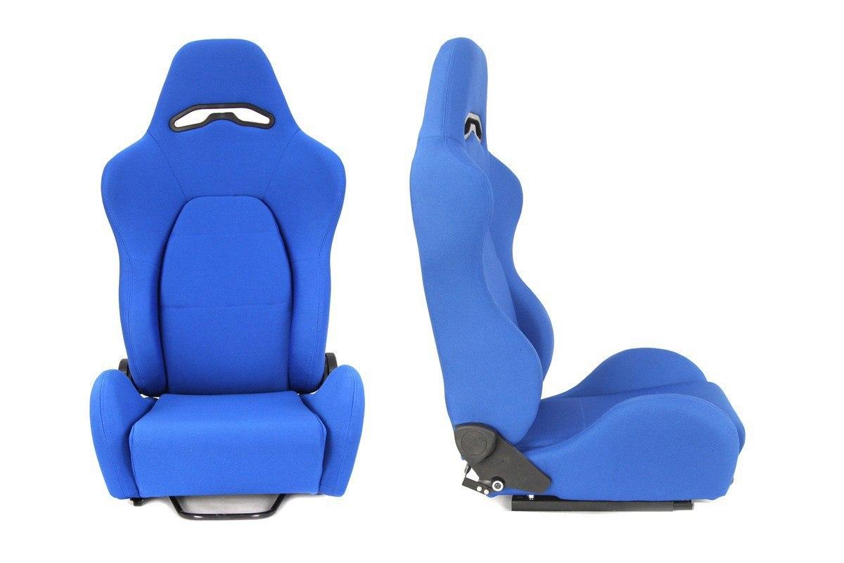 Fotel sportowy DRAGO Welur Blue - GRUBYGARAGE - Sklep Tuningowy
